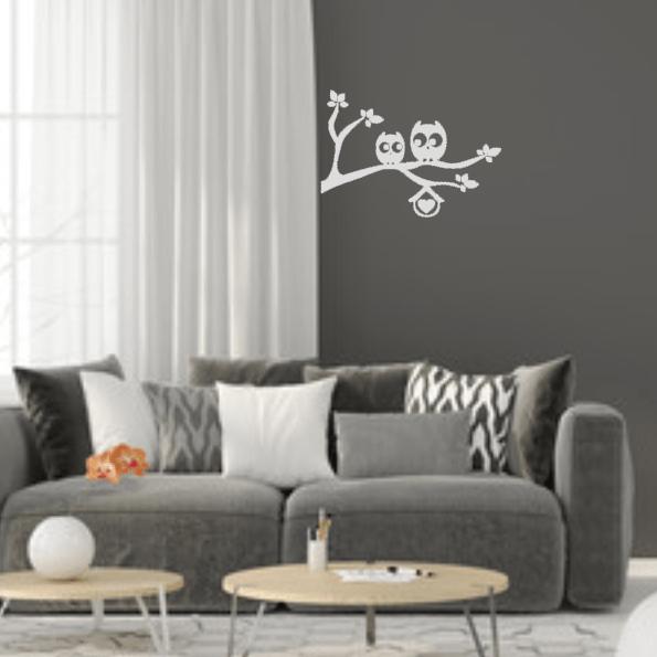 FlexMade Decoratiesticker Muursticker Uilen op tak sfeer