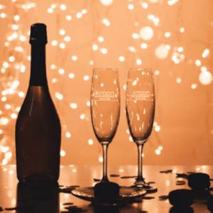 Champagneglas met logo FlexMade Glaswerk