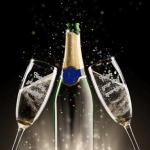 Champagneglas met tekst huwelijk FlexMade glaswerk
