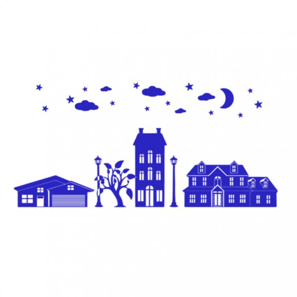 Uitbreidingsset Huisjes FlexMade raamfolie blauw