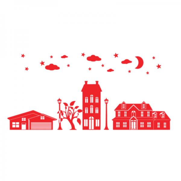 Uitbreidinsset Huisjes FlexMade raamfolie rood